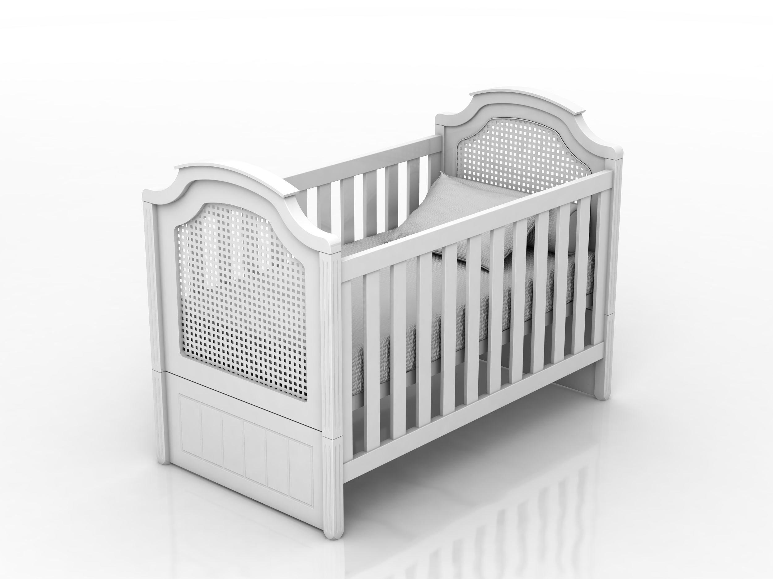 Bilila Baby berço Classic com aplicação de Rattan estilo provençal na cor branco fosco